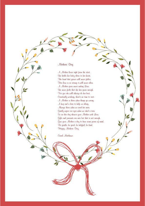 Tante poesie da scaricare in belle cornici colorate o da colorare. Inoltre vari testi di poesie per festeggiare la mamma senza cornice.