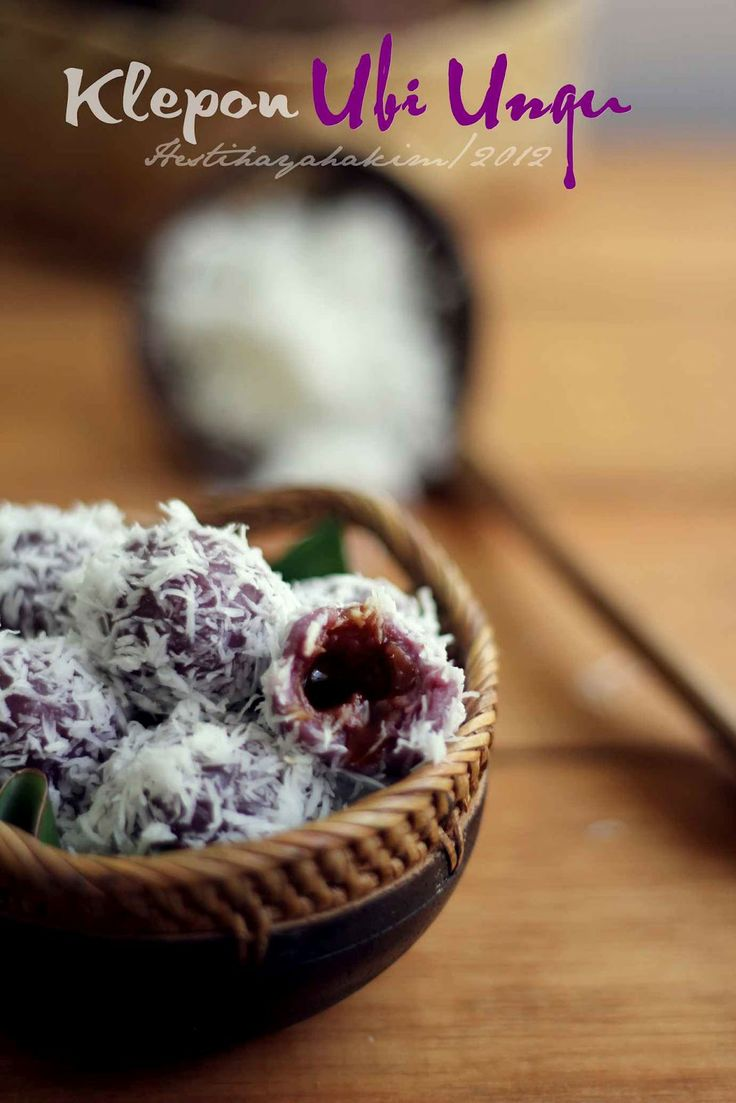 Purple sweet potato klepon. Indonesian
