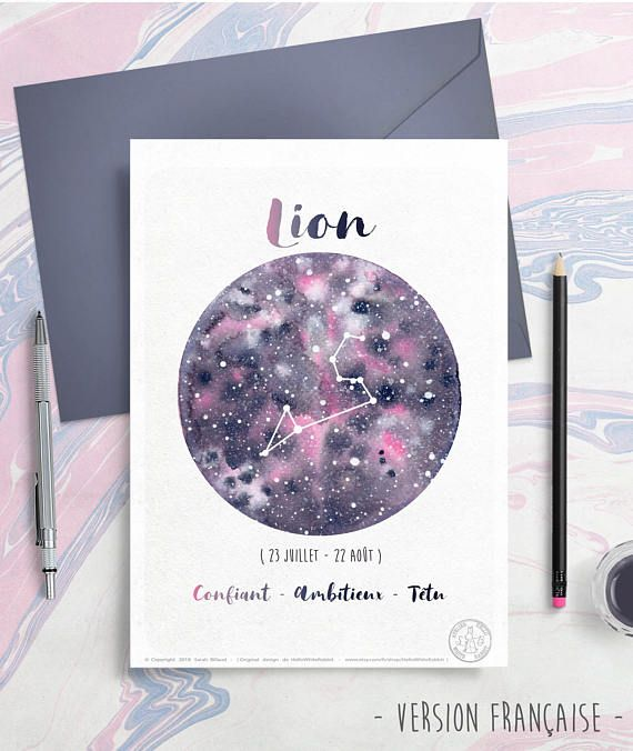 Astrology Card – Zodiac Indicators – Leo, Horoscope, Planet Illustration, Constellation drawing, Watercolor galaxy, Give as reward, August month