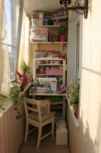 Kudos to whoever sews/crafts here.  Just goes to show that no space is too tiny to create in!