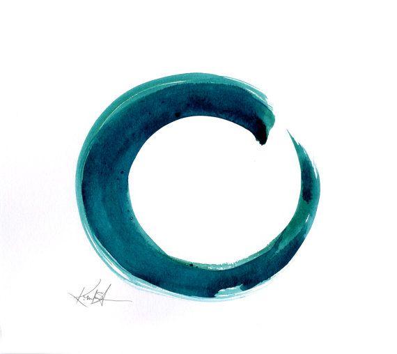 "Enso Painting, Abstract Zen Circle Art, teal, aqua,blue color, spiritual, Original water media ""Enso Serenity 3""by Kathy Morton Stanion EBSQ"