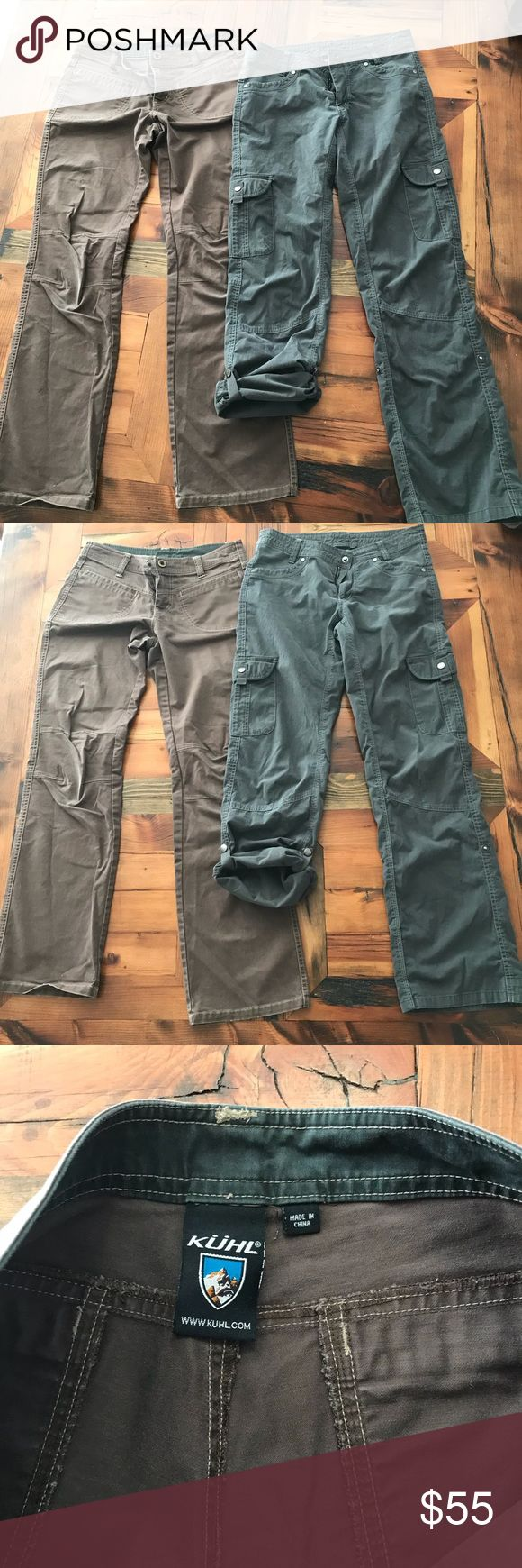 KUHL Camping Pants ⛺️ bundle KUHL camping pants Born in the Mountains ⛰  Woman size 6 Used condition but still have a lot of life left These are high quality pants Brown pants are 83% cotton 15% Lyocell 2% spandex remind me of tin pants in a way Gray pants are 68% cotton 29% nylon 3% spandex Brow pants have pitch stain and a little wear at knees Ask with ?'s sold as is  Also have a size 4 on a different listing on my page Kuhl Pants