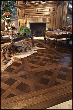 Full grain, vegetable-tanned aniline-dyed cowhide flooring.