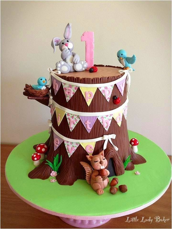 Little Tree Stump Woodland Cake For 1st Birthday By Little