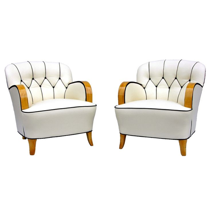 A Pair of Art Deco Armchairs  Sweden  Circa 1920 - 1930  A Pair of Art Deco Armchairs with flutted back and zig zag detail.