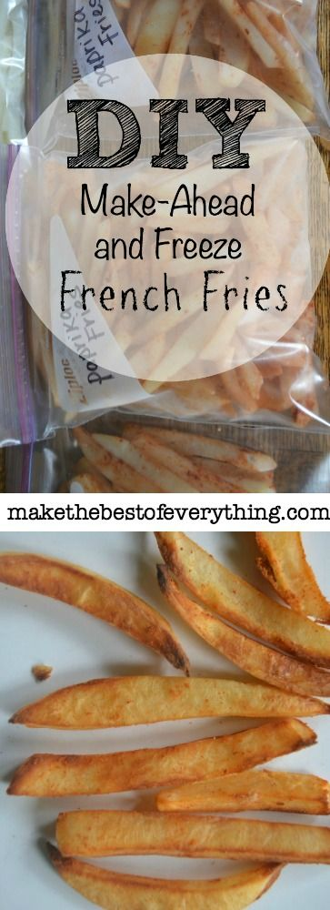 Freezer fries are one of the most awesome things EVER!  This recipe calls for boiling the potatoes for 5 min. prior to freezing.  If you prefer you can also parbake them for 10-12 min., allow to cool, lay on a sheet pan to freeze then transfer to freezer bag