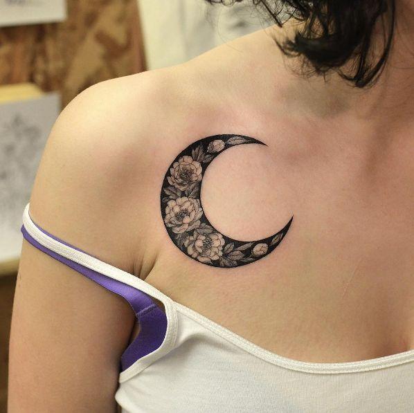Vintage floral moon tattoo by Tattooist Flower