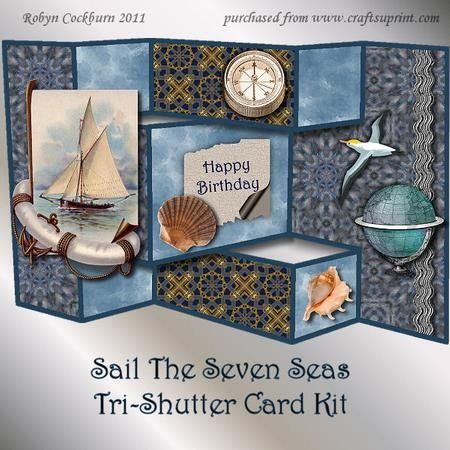 Sail The Seven Seas Tri Shutter Card Kit on Craftsuprint designed by Robyn Cockburn - Decoupage vintage nautical images and sea shells for a male birthday or Fathers Day card.Place the decoupage anywhere you like. Tri-shutter cards are very simple to make (step by step photographic tutorial included). All of the decorative panels, fold lines and cutting lines are built into the design. Just glue the front and back panels together, cut two slots, make the folds and you are ready to attach the…