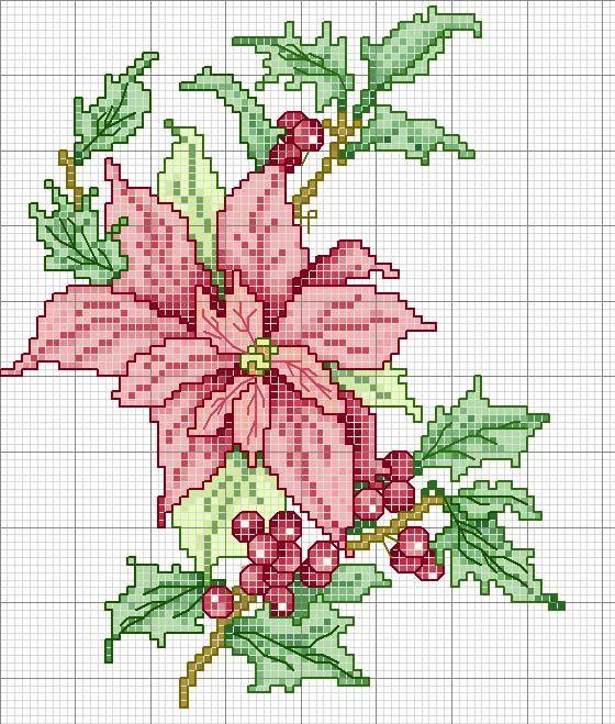 cross stitch chart*♥* Poinsettia