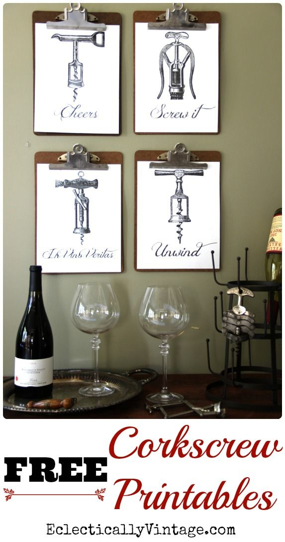 FREE Corkscrew Wine Printables - these would be cute hostess gifts - just frame and give with a bottle of wine!  eclecticallyvintage.com