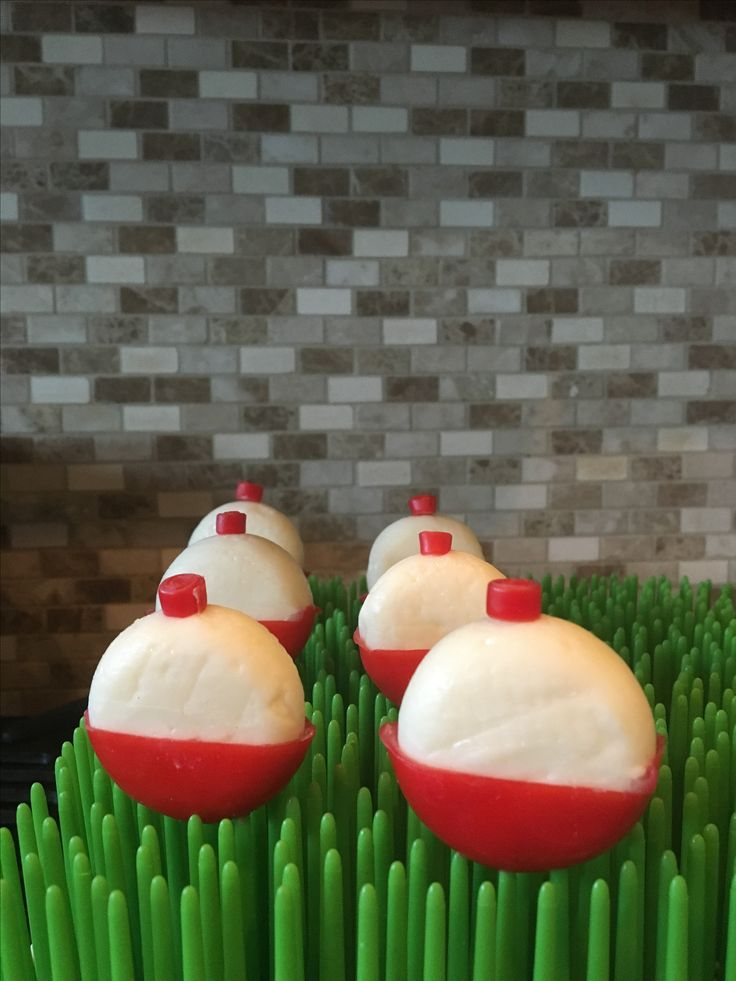 Mini Babybel bobbers for a fishing themed birthday party!