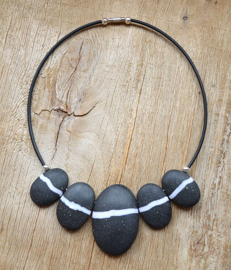 Stone necklace Minimalist necklace Stone jewelry Black necklace Minimalist jewelry Fashion jewelry Polymer clay jewelry Clothing gift