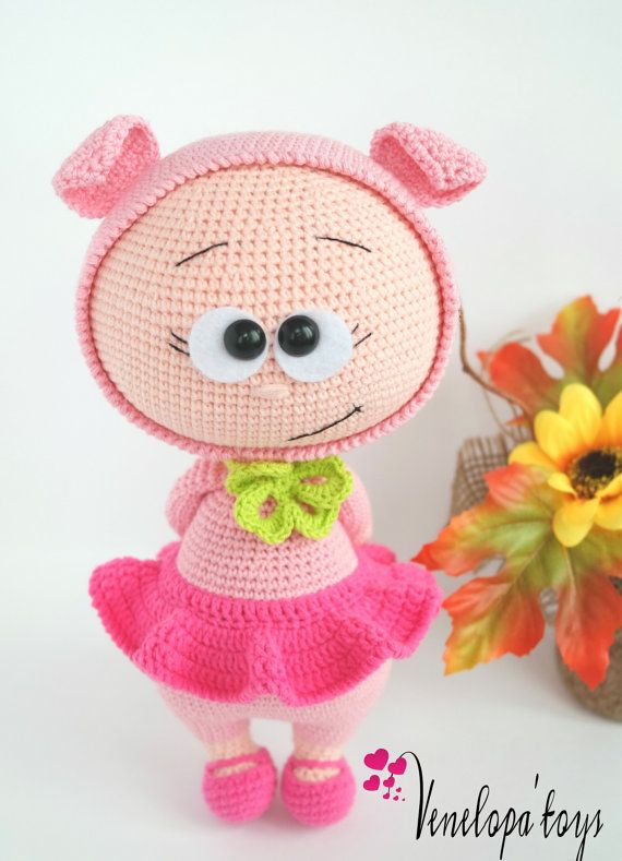 Doll With Pig Costume Stuffed Toy by VenelopaTOYS on Etsy