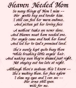 Mothers Day In Heaven Poem ... Miss you and love you always Mom...