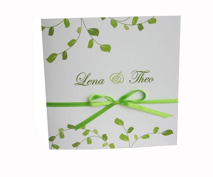 """Einladungskarte Hochzeit """"Blätter grün"""" von moments-events auf DaWanda.com"""
