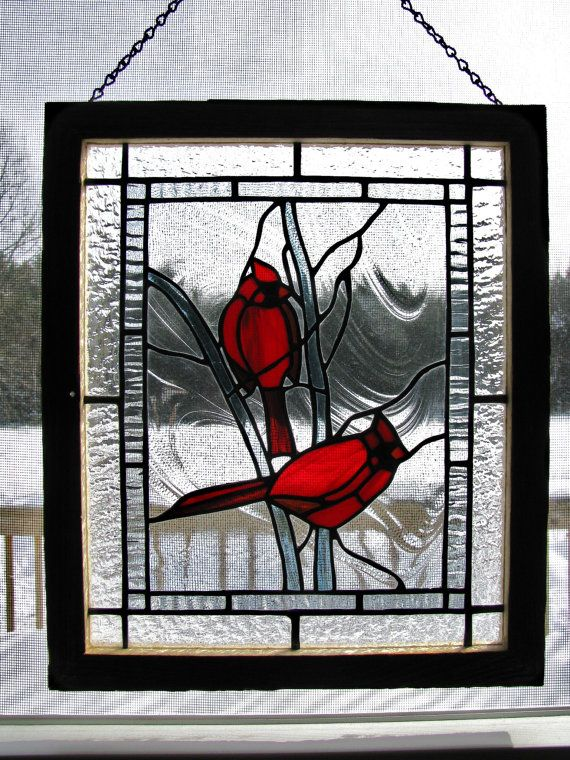 Red cardinal if its all the same.  Please allow me to explain Goodbye blackbird, so long crow Red cardinal, I love you so.  ~Molly Johnson    This stunning Stained Glass Panel measures app. 11 1/2 x 13 1/2. A wintry scene created with clear, textured glasses and framed with authentic rustic Adirondack Barn Board. The Cardinals pop with shades of vivid Red Stained Glass. Hung with a Black Jack chain this panel would look beautiful in any window.    Shipping price includes insurance. ...