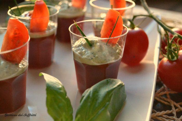 gelatina di pomodoro con spuma di tofu al basilico, vegan finger food