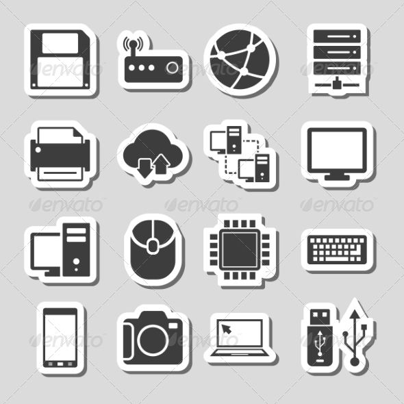 Technology Icons Set as Labels whith shadow