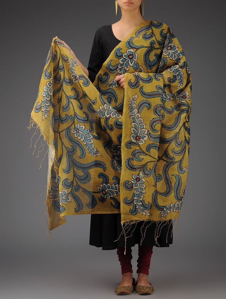 Buy Mustard Blue Red Chanderi Hand Painted Kalamkari Dupatta By Jaypore Accessories Dupattas Ode to Tradition and Bagru Printed Tribal Silver Jewelry Online at Jaypore.com