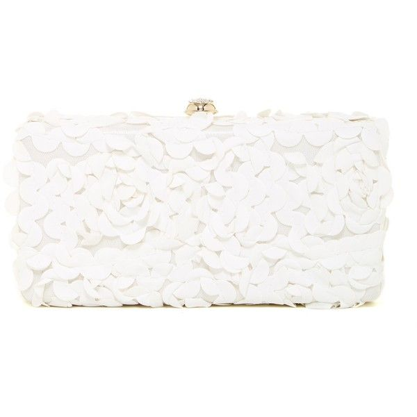 Deux Lux Fleurs Box Clutch found on Polyvore featuring bags, handbags, clutches, white, strap purse, floral purse, white handbags, box clutch and embroidered handbags