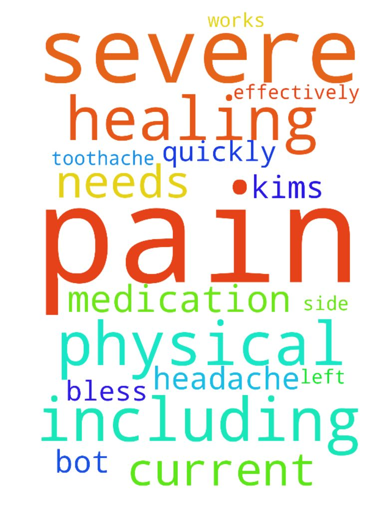 Please pray for healing of all physical pain; including - Please pray for healing of all physical pain; including a severe headache and severe toothache bot on the left side. Pray the pain medication works quickly and effectively. Also please pray for all of Kims current needs Thank you. God bless you.  Posted at: https://prayerrequest.com/t/u4A #pray #prayer #request #prayerrequest