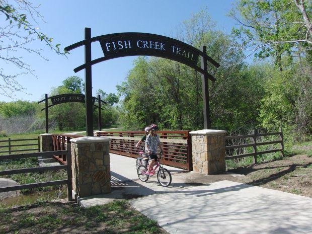 Linear Trail for walking or bike riding through Arlington and Grand Prairie, Texas.