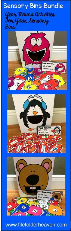 This Sensory Bin Activities Bundles is packed with activities for your Sensory Bin Center, or Sensory Bins small group activities. These activities focus on numbers, colors, sizes shapes, rhyming words and basic language skills.