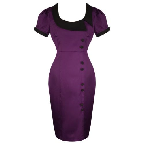 Violet kitsch pinup rockabilly vintage 50s style ajusté crayon dress uk