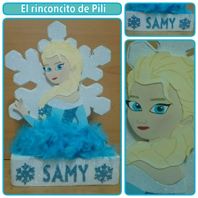Centro de mesa cumpleaňos Elsa #frozen #Elsa #fiestainfantil #pluma #brillo