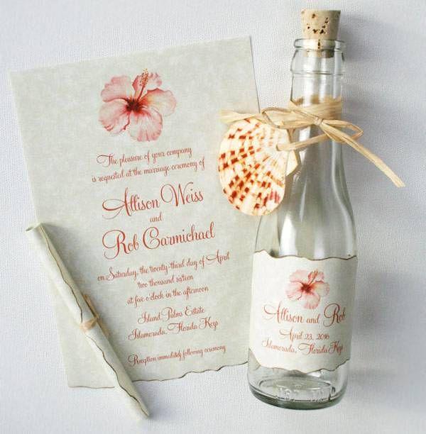convite de casamento na garrafa