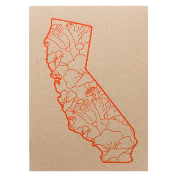 California with poppies print