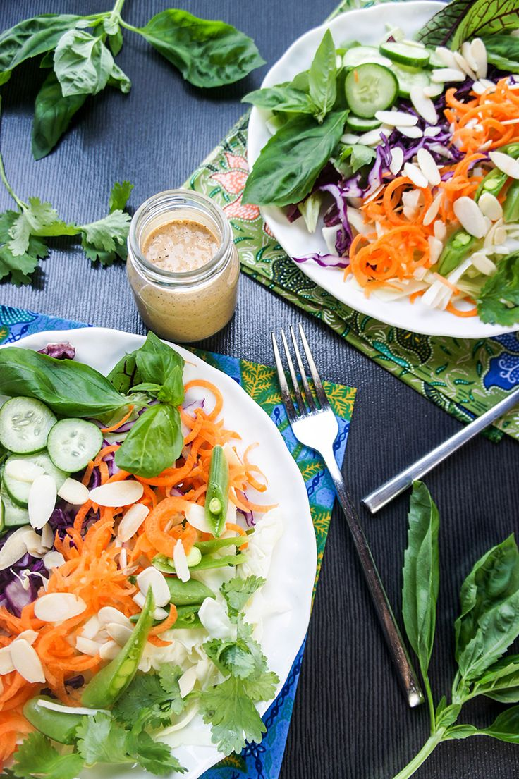 Spicy Thai Almond Salad Dressing / If you're a fan of peanut sauce, you will LOVE this salad dressing! Tons of creamy, healthy flavor to smother your greens.