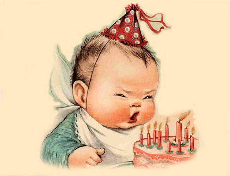 Старые рисованные открытки с днем рождения