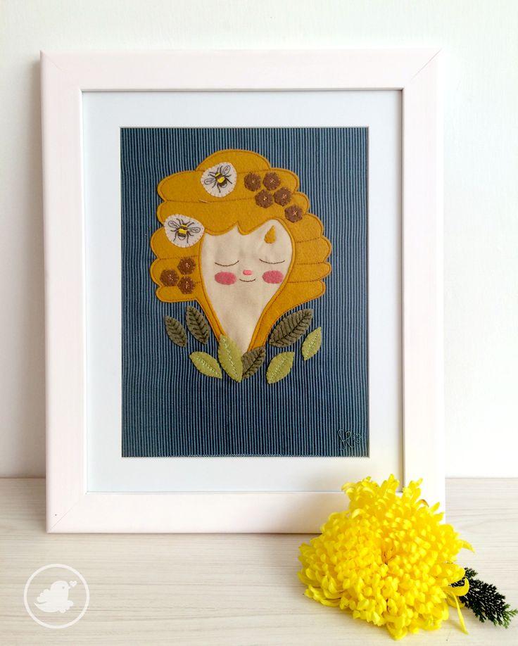 """Miss honey"" Textile illustration. Limited edition. More info hola@florula.com.mx"