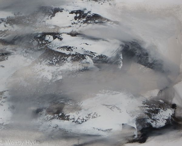 Winters Wrath - Inspired by the beauty and drama of land and sky. Worked in oils on fabriano paper, presented in a white acrylic frame with mount under plexi glass Frame measures H47 x 57 W CMS  (SEE WORK IN SITU)