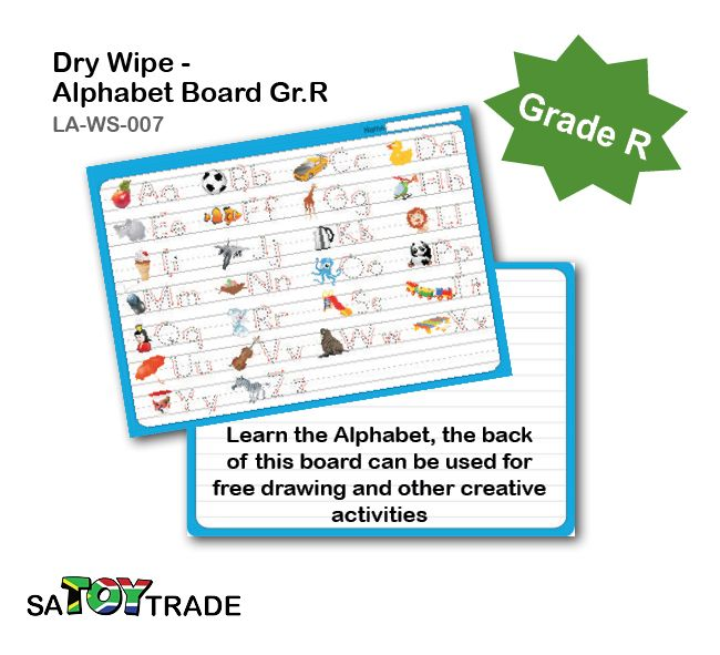 Learn the Alphabet required of a grade R student. A great product to exercises extra alphabet and handwriting at home or in the classroom. Only use a whiteboard maker to fill in all the answers, for easy clean and reuse. The back of this board can be used for free drawing and other creative activities. Develops fine motor skills, handwriting, alphabet, concentration and thinking. Ages Grade R.