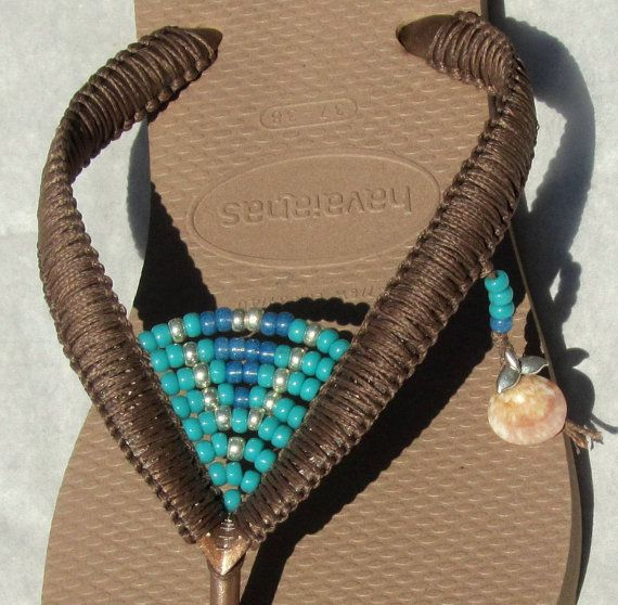 Turquoise & Silver Beaded Flip Flops Bohemian Decorated Sandals based on Bronze Rose Gold Havaianas Flats - 100% Handmade.  You can decorate your hands, ears, neck but also … your feet!  These are an absolutely unique Must Have Flip Flops!!! The combination between style and comfortable at the same pair of sandals.  By decorating I used professional jewelry techniques and the highest quality materials varying from japanese beads, sterling silver beads, stone beads, shells and other beauti...