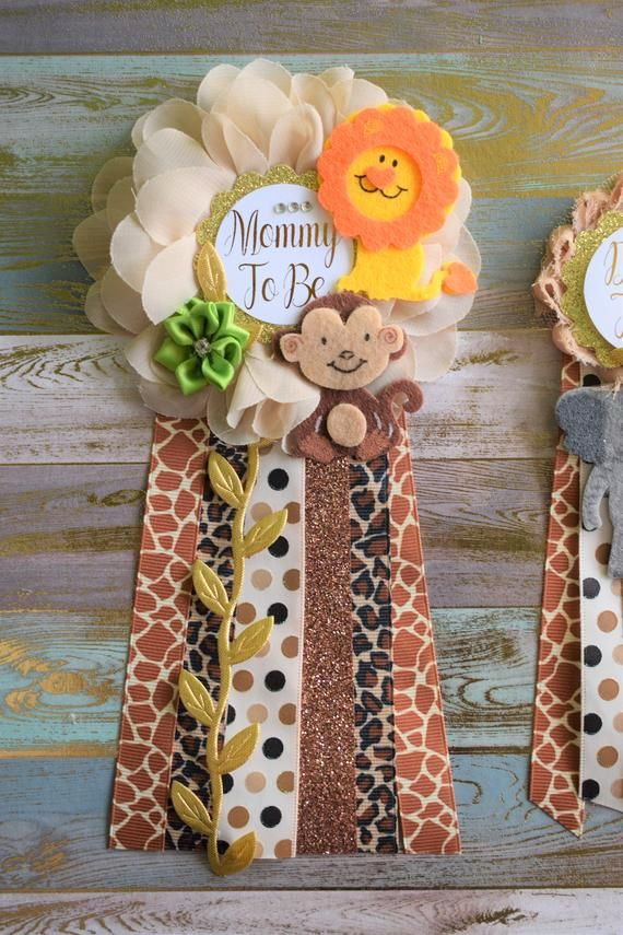 Safari Baby Shower Safari Jungle Corsage Pin Flower Sash Set
