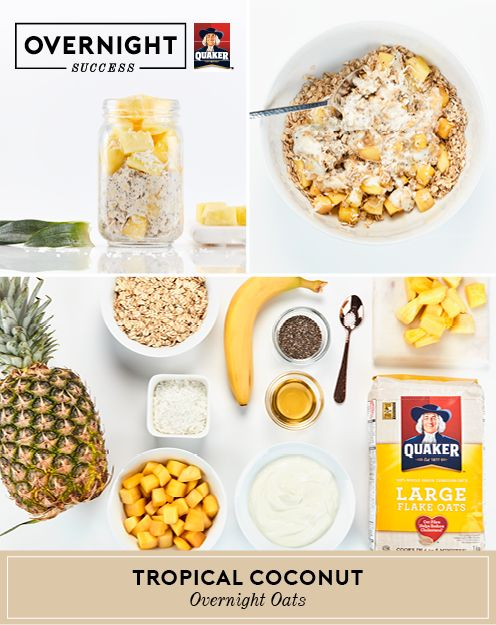 Experience #OvernightSuccess and take a trip to paradise with these overnight oats. Enjoy summer spoonfuls of coconut, mango and pineapple. More recipe details and tips at OvernightOats.ca