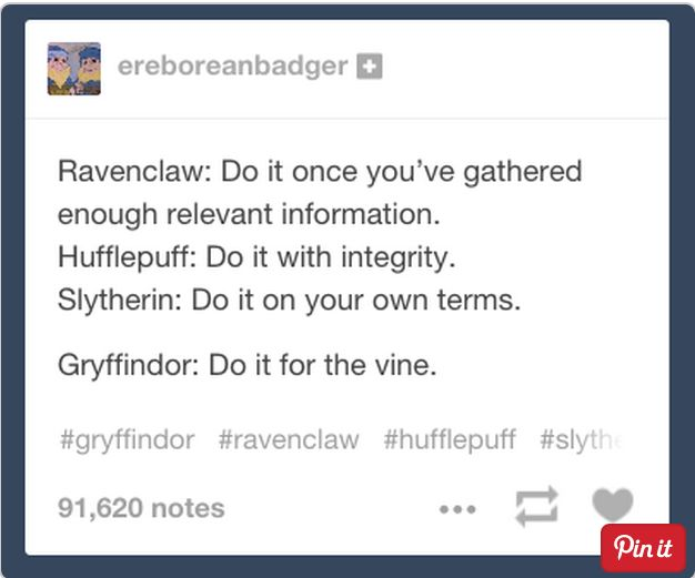The Four Houses perfectly described
