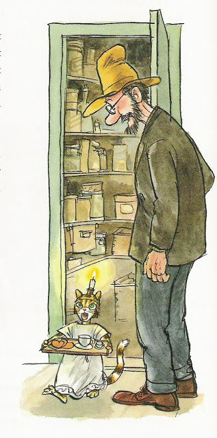 "Soo cute. The cartoon ""Pettson & Findus"" by Sven Nordqvist.  Findus the cat ""lussar""—celebrates the Swedish Lucia holiday by singing Lucia songs, bringing coffee and saffron buns and ginger snaps the morning of Dec 13—for his human, Pettson. J'adore. For some reason Findus is coming out of the pantry; perhaps because it's supposed to be a ""surprise"" to your family—even if you do it every year (and you're little and mom/dad makes the coffee). <3"