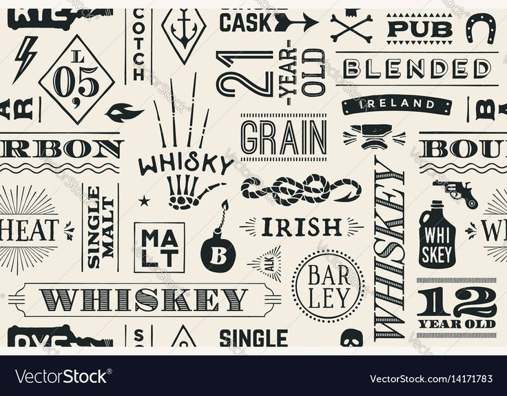 Seamless pattern with types of whiskey and hand drawn lettering for bar, pub, cafe, fest and party. Vintage drawing for placemat, bar menu, t-shirt print and whiskey themes. Vector Illustration. Download a Free Preview or High Quality Adobe Illustrator Ai, EPS, PDF and High Resolution JPEG versions.