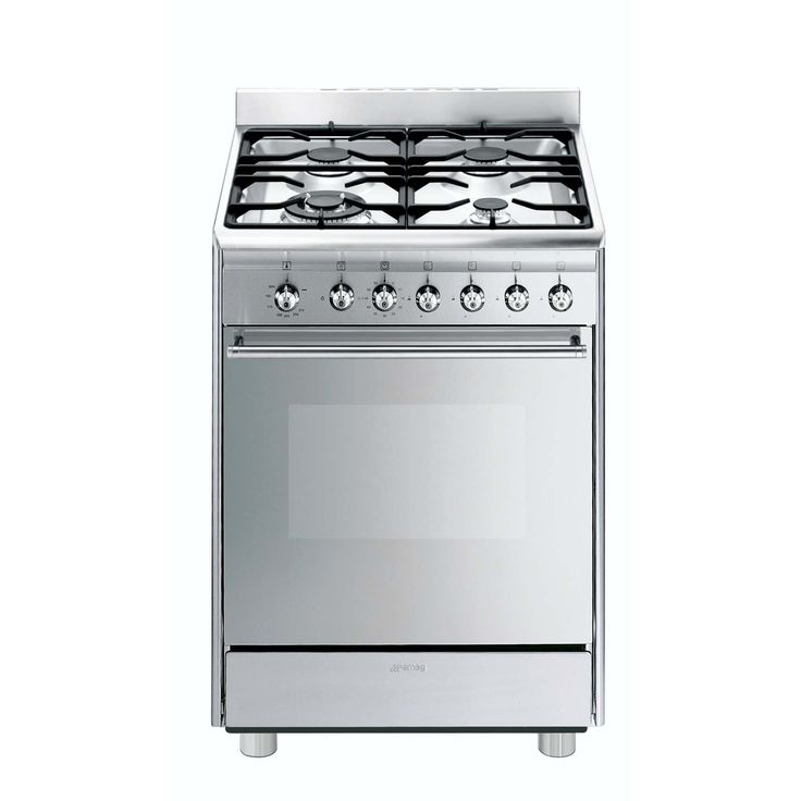 """SMEG+-+60cm+Stainless+Steel+Gas+Cooker+-+SMEG+-+60CM+STAINLESS+STEEL+GAS+COOKER 60cm+""""Concert""""+Cooker+with+Gas+hob+and+Gas+oven,+Stainless+steel Programs+/+Functions N°+of+functions:+2 Aesthetics Design:+Round+design+Design Aesthetics:+Neutral Oven+door:+Full+glass Pan+stands+type:+Cast+Iron Command+panel+finish:+Stainless+steel Knob+type:+Smeg+Classic Handle:+Smeg+round+handle Oven+door+glass+type:+Stopsol Feet:+Silver+grey Storage+compartment:+Door Hob+technical+features..."""