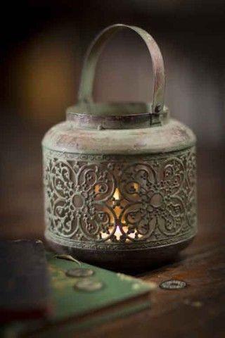 Metal Lantern in Antique Green Finish by Vagabond Vintage