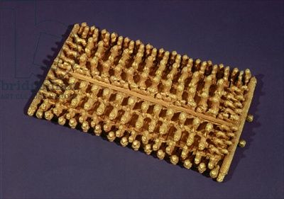 Rectangular fibula, from the Barberini Tomb (gold) Title: Etruscan, (7th century BC) Primary creator: Etruscan Nationality: Museo Etrusco di Villa Giulia, Rome, Italy Location: Giraudon Credit: gold Medium: 07th- (C07th-