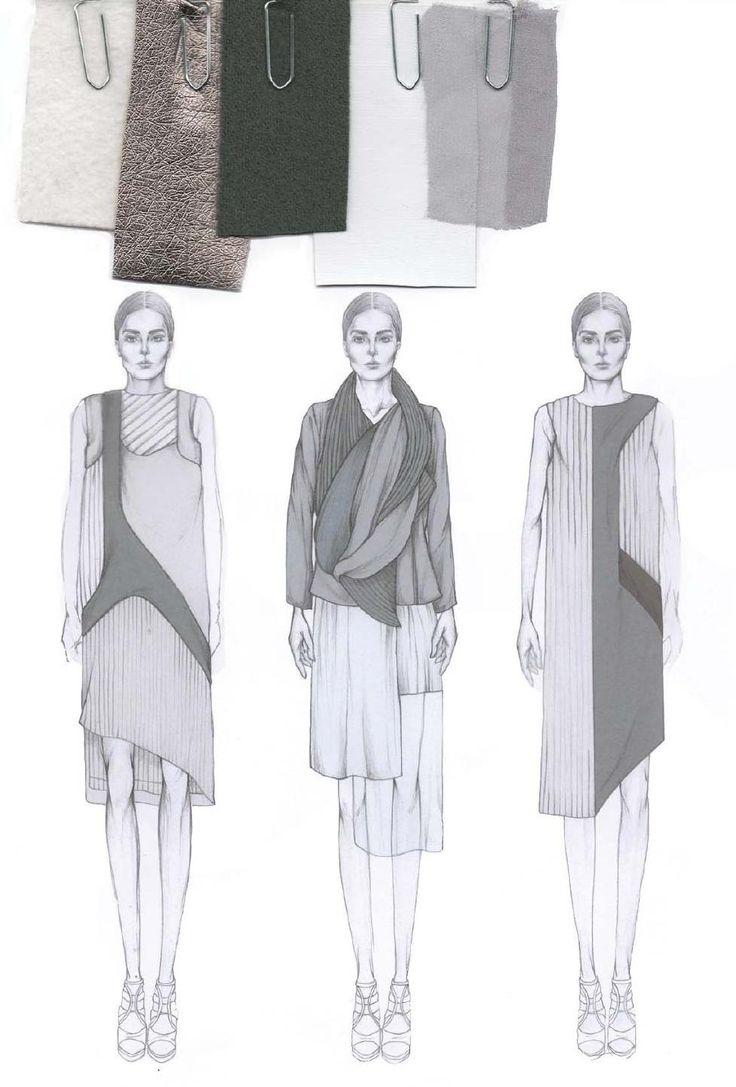 Fashion Sketchbook - fashion illustrations & fabric layout; fashion portfolio // Emily-Mei Cross