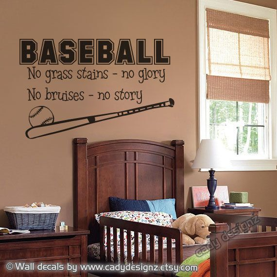 Love it!  Baseball Wall Decal Sports Boys Room Decor Vinyl by CadyDesignz. $24.00, via Etsy.