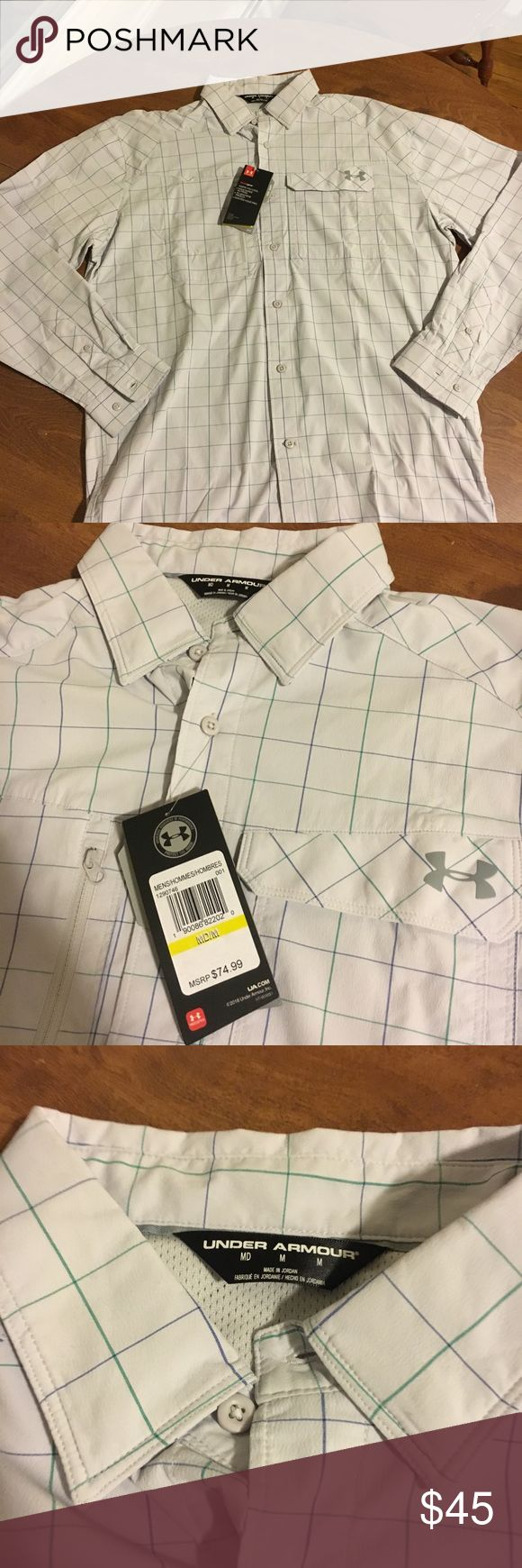 Under Armour Fish Hunter Long-Sleeve Plaid Shirt New With Tags Under Armour Hunting/fishing shirt Size medium  Great for staying dry Under Armour Shirts Casual Button Down Shirts