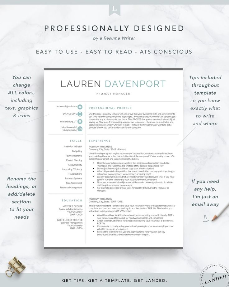 Resume template for word pages marketing and sales