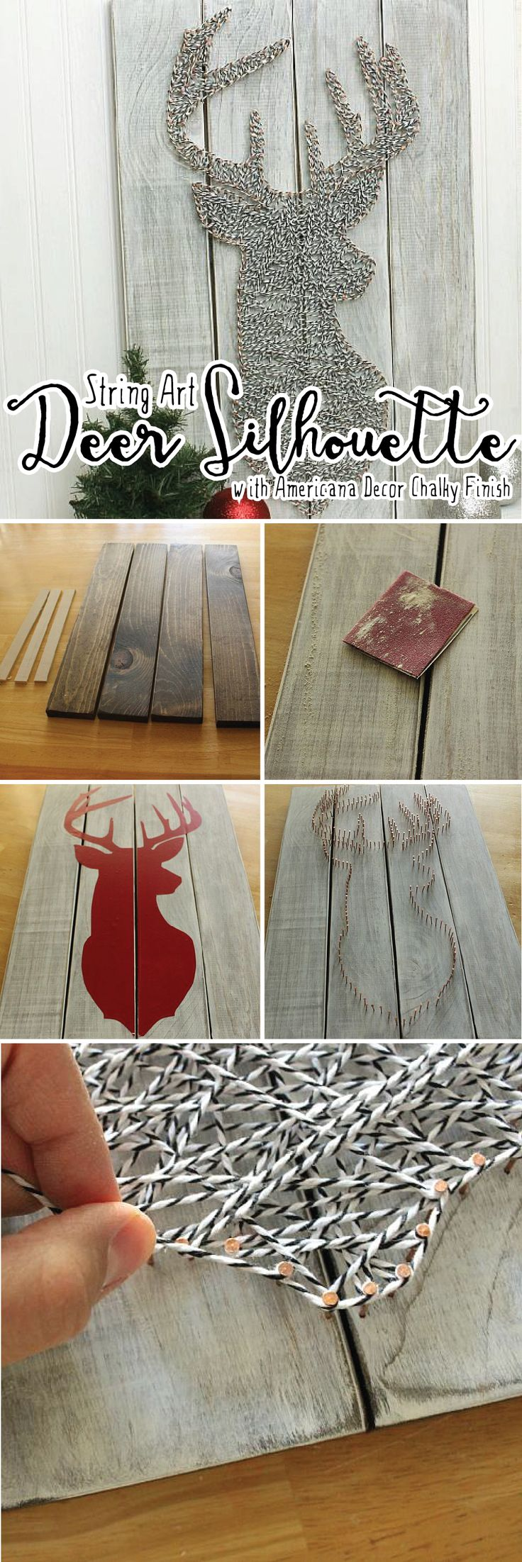 With just some baker's twine your @silhouettepins machine and Americana Decor Chalky Finish you can create this gorgeous deer head silhouette (cut file included). #DecoArtProjects #ChalkyFinish #AmericanaDecor #Silhouette